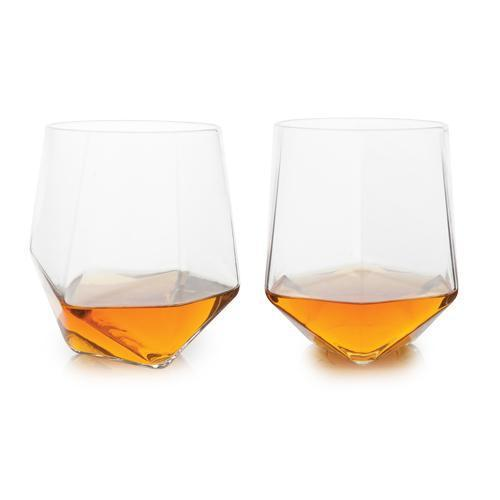 Raye Seneca Faceted Crystal Tumblers (Set of 2)-HOme - Entertaining - Cocktail Glasses Sets-VISKI-Peccadilly