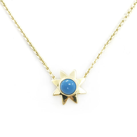 Starr Genuine Blue Turquoise Gemstone Pendant Necklace