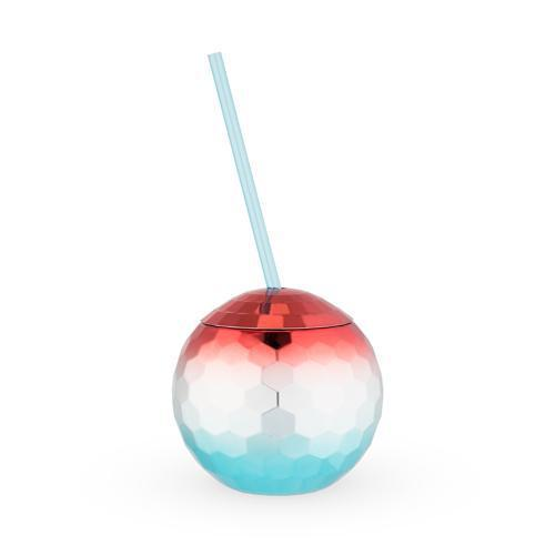 Red White and Blue Disco Ball Tumbler-Home - Entertaining - Tumblers-BLUSH-Peccadilly