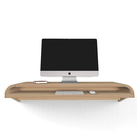 Rift Oak Minimal Floating Wall Desk in 36