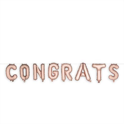 Rose Gold CONGRATS Mylar Balloon-Home - Party Supplies - Party Balloons-CAKEWALK-Peccadilly