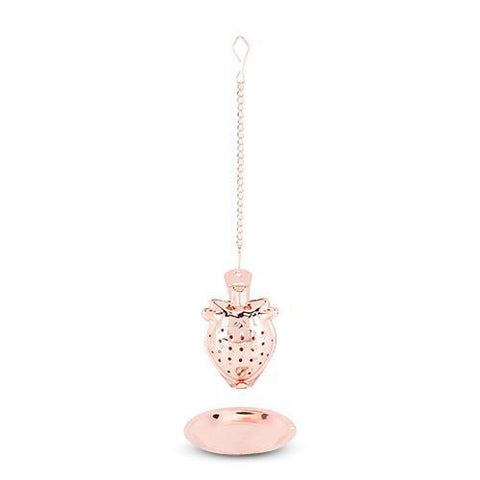 Rose Gold Strawberry Tea Infuser & Tray Set