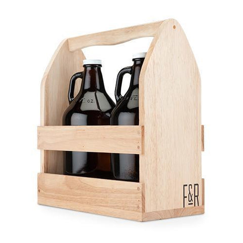 Rubber Wood Growler Caddy