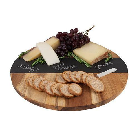 Rustic Farmhouse Acacia Wood and Slate Lazy Susan