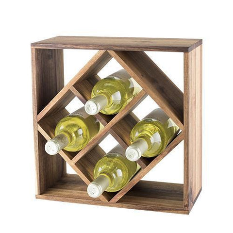 Rustic Farmhouse Acacia Wood Lattice Wine Rack