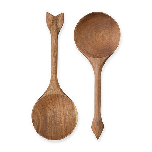 Rustic Farmhouse Acacia Wood Serving Spoons-Home - Dining - Serving Utensils - Holiday-TWINE-Peccadilly