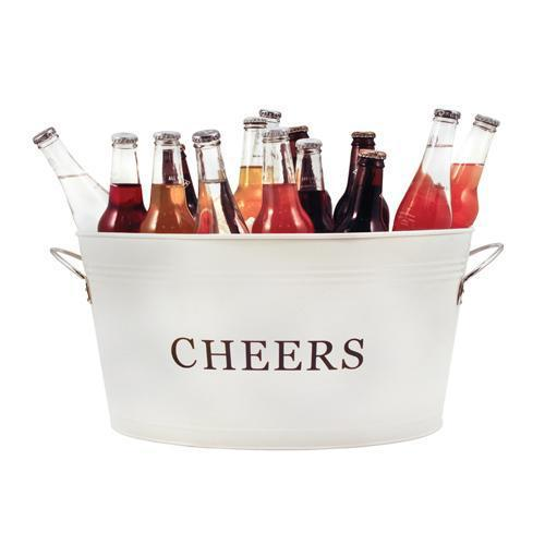 Rustic Farmhouse Galvanized Cheers Tub-Home - Entertaining - Beverage Tubs-TWINE-Peccadilly