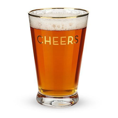 Rustic Farmhouse Gold Rimmed Cheers Pint Glass Set