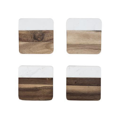 Rustic Farmhouse Marble & Acacia Coaster Set