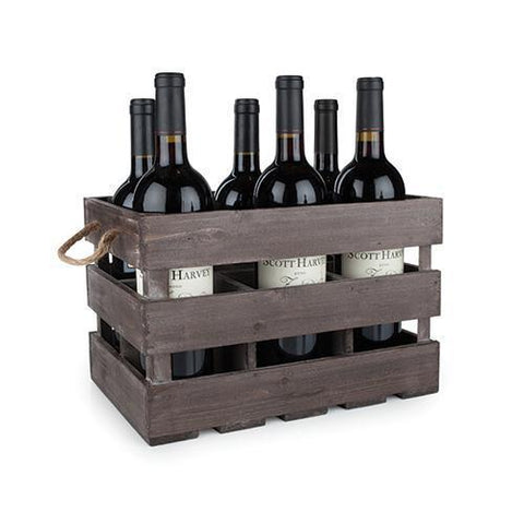 Rustic Farmhouse Wooden 6 Bottle Crate