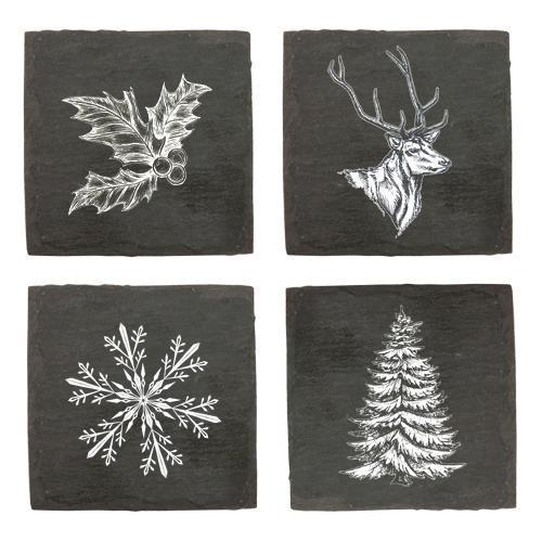 Rustic Holiday Assorted Slate Coasters-Home - Entertaining - Coasters - Holiday-TWINE-Peccadilly