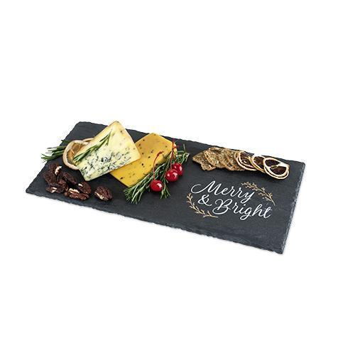 Rustic Holiday Merry & Bright Slate Cheese Board-Home - Entertaining - Cheese Boards - Holiday-TWINE-Peccadilly