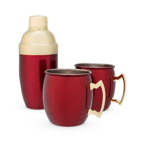 Rustic Holiday Red Mule Mug & Cocktail Shaker Gift Set