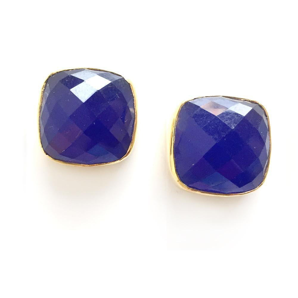 Hutchinson Faceted Genuine Gemstone Studs-Women - Jewelry - Earrings-ADDISON WEEKS-Sapphire-Peccadilly
