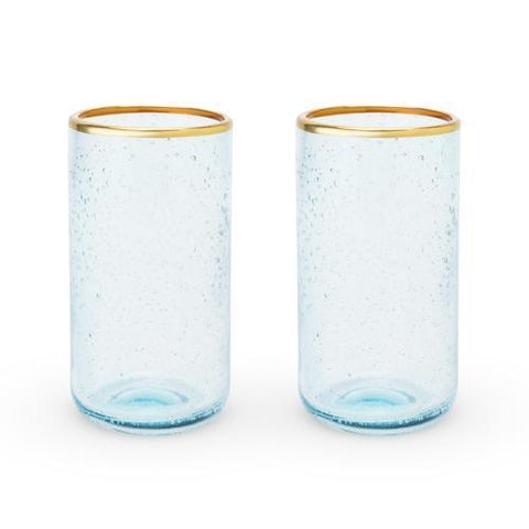 Seaside Aqua Bubble Glass Tumbler Set