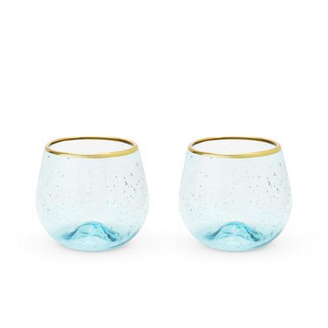 Seaside Aqua Bubble Stemless Wine Glass Set