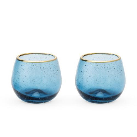 Seaside Deep Blue Bubble Stemless Wine Glass Set