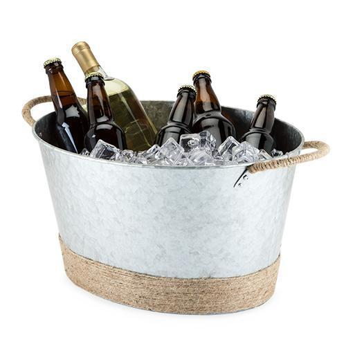 Seaside Jute Rope Wrapped Galvanized Tub-Home - Entertaining - Beverage Tubs-TWINE-Peccadilly