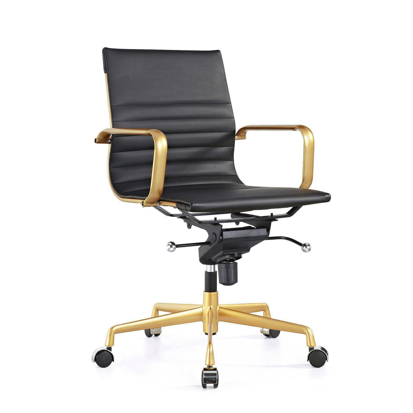 Decade Gold Modern Leather Office Chairs Set of 2-Home - Furniture - Office Chairs-DESIGN LAB MN-Black-Peccadilly