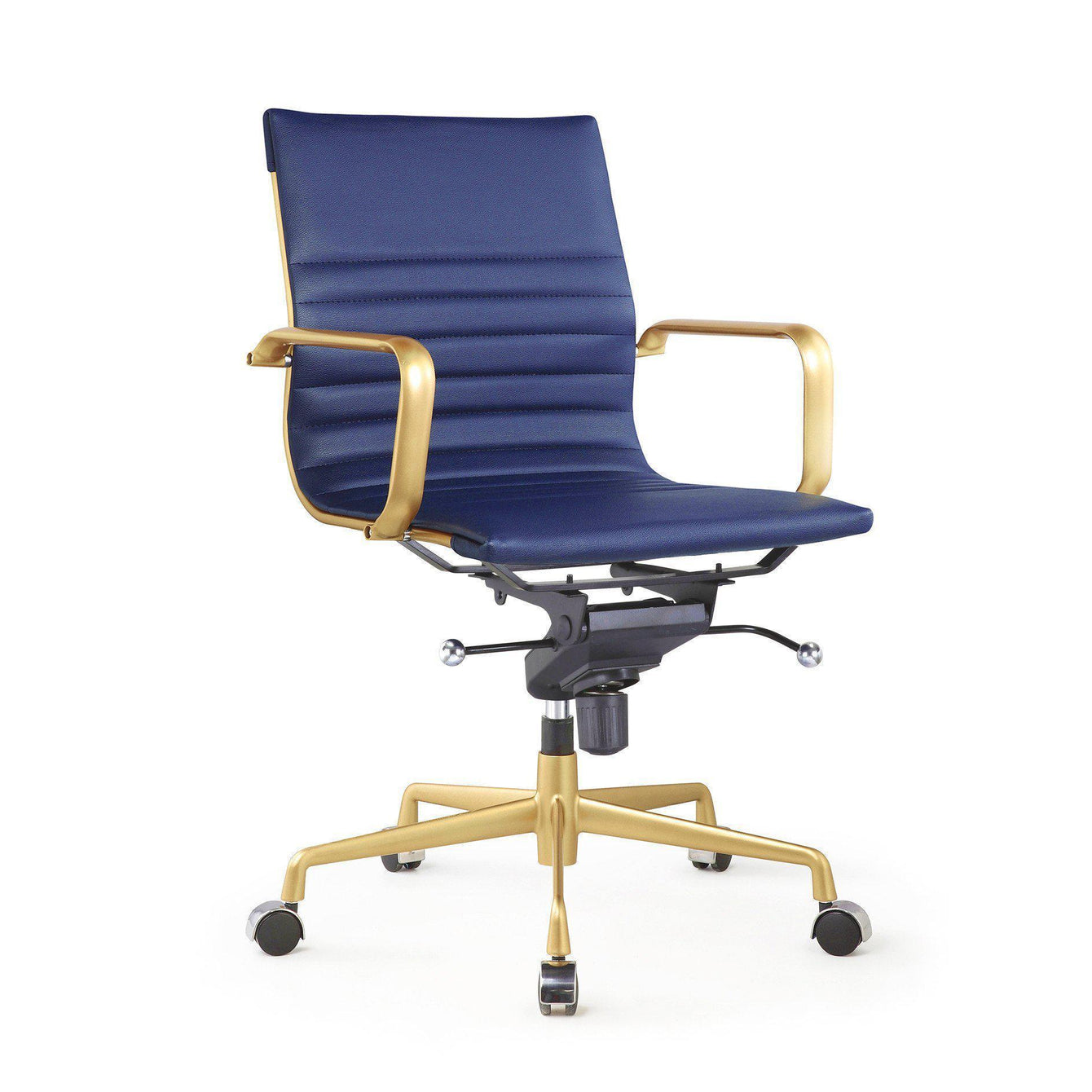 Decade Gold Modern Leather Office Chairs Set of 2-Home - Furniture - Office Chairs-DESIGN LAB MN-Navy Blue-Peccadilly