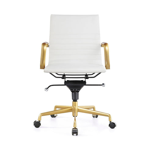 SET OF 2 Decade White + Gold Modern Classic Aluminum Office Chair