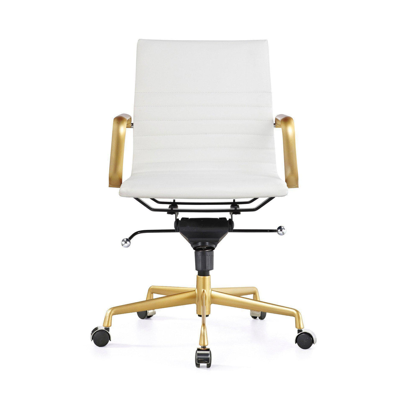 Decade Gold Modern Leather Office Chairs Set of 2-Home - Furniture - Office Chairs-DESIGN LAB MN-White-Peccadilly