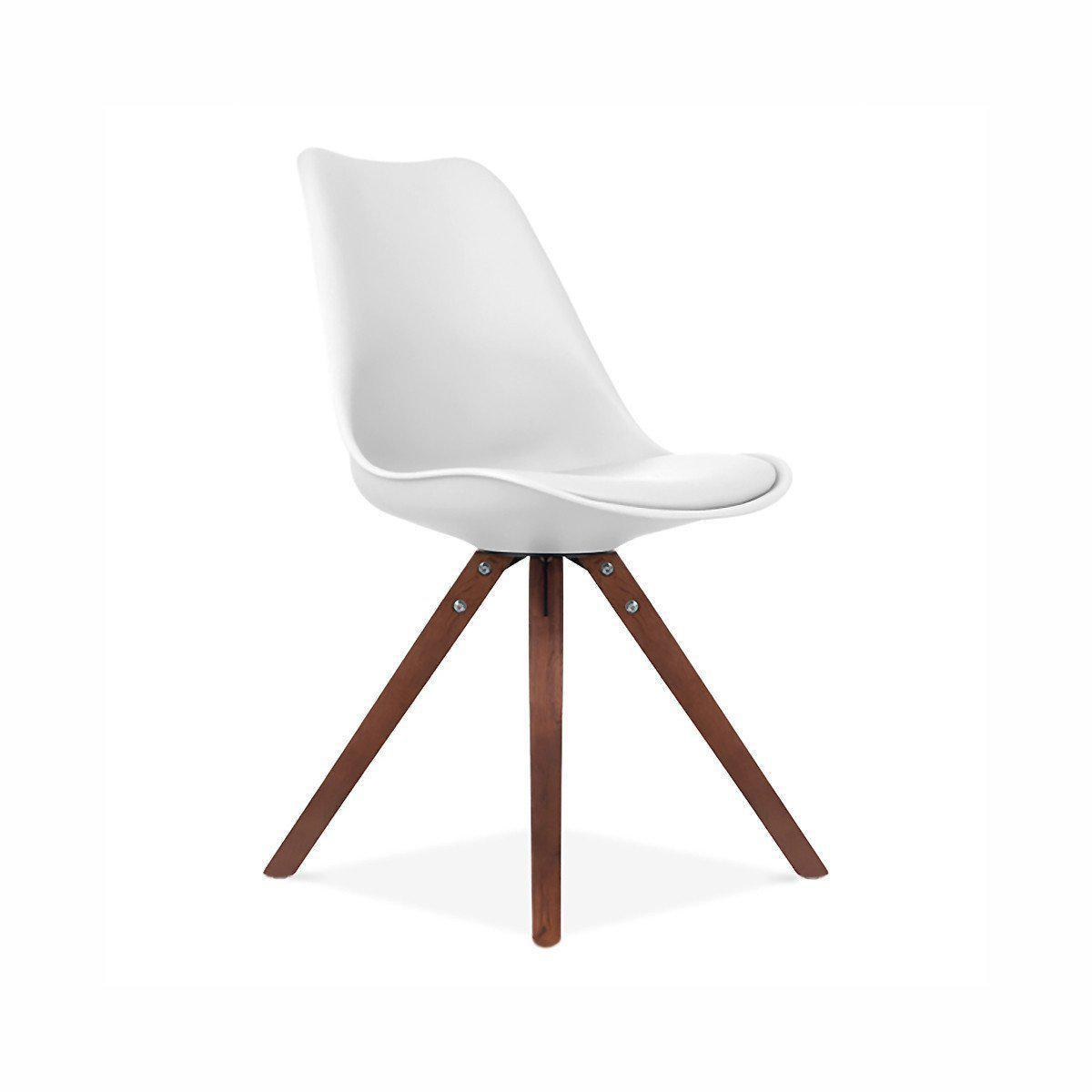 SET OF 2 Viborg White Side Chair Walnut Base-DESIGN LAB MN-Peccadilly