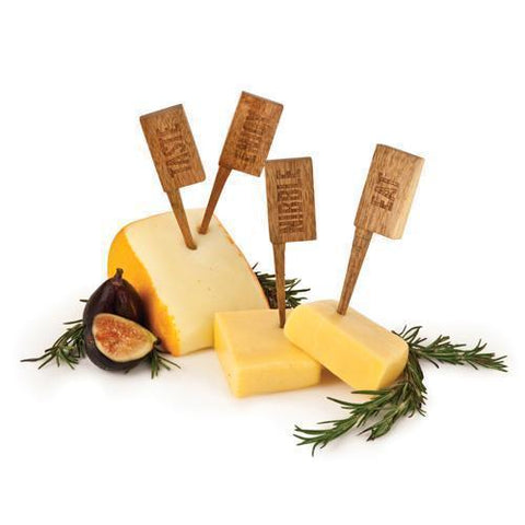 Set of 4 Acacia Wooden Cheese Markers