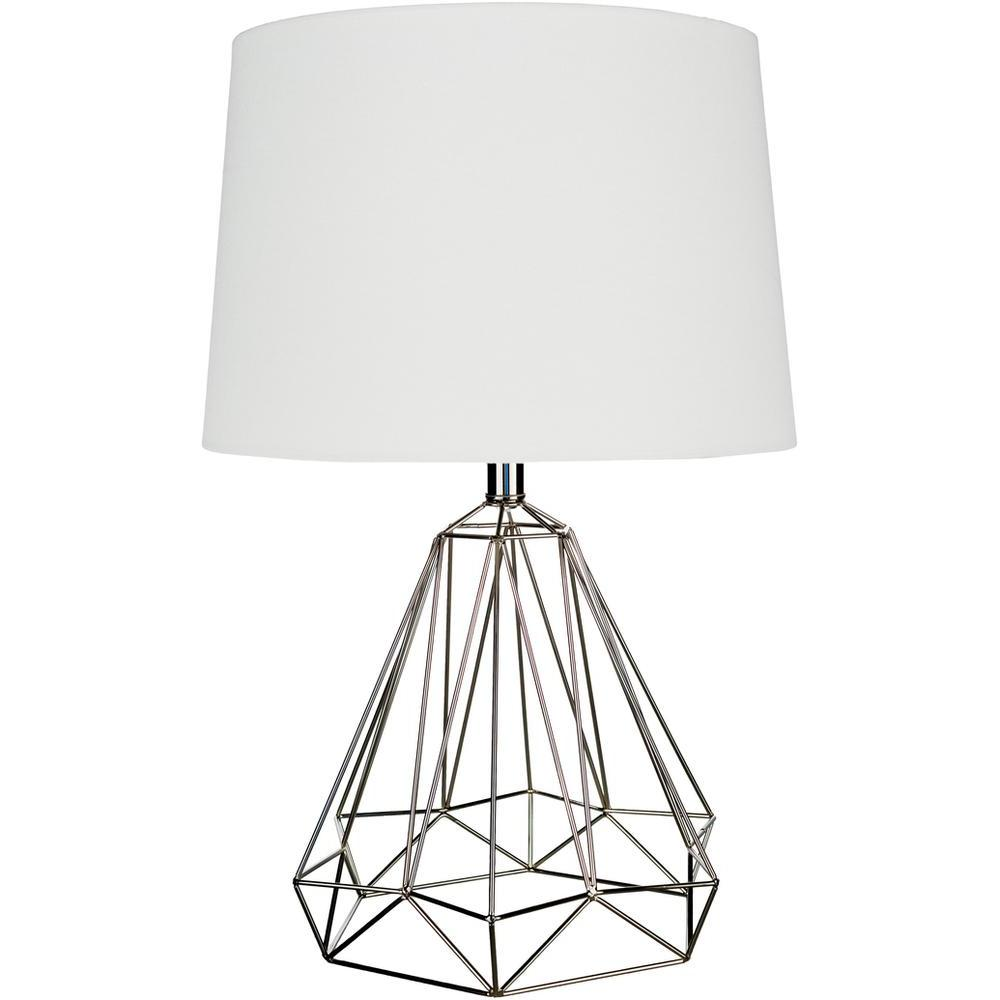 Steele Metal Caged Table Lamp-Home - Lighting - Table Lamps-SURYA-Nickel-Peccadilly