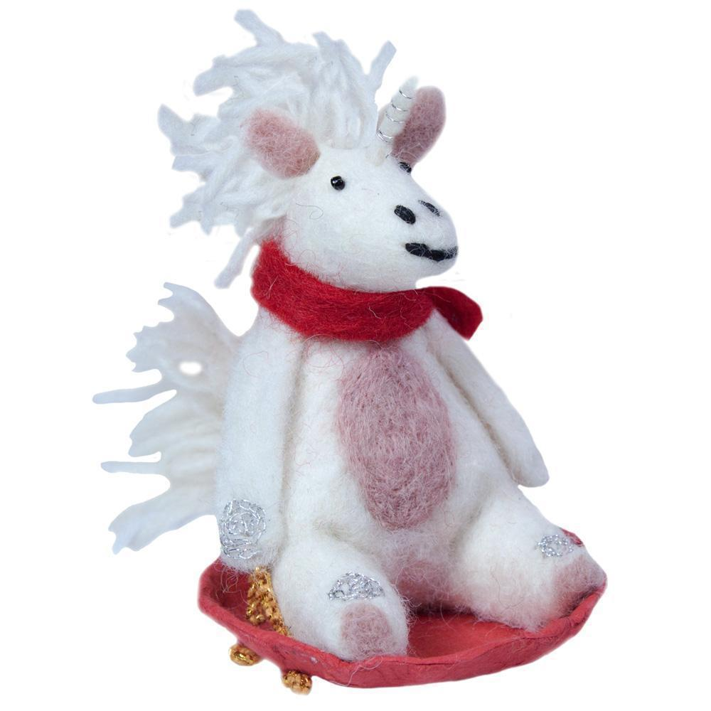 Sledding Unicorn Felt Ornament-Home - Decor - Holiday - Ornaments-WILD WOOLIES FAIR TRADE-Peccadilly