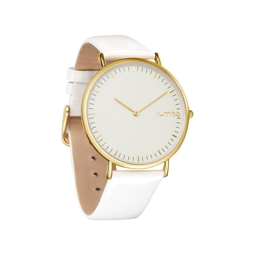 SoHo Patent Leather Watch in White Snow Patrol and Gold-Women - Accessories - Watches-RUMBATIME-Peccadilly