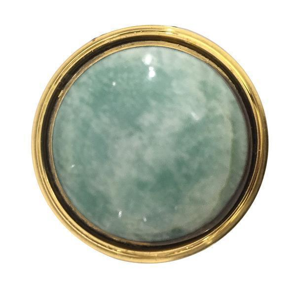 Solid Brass Lane Gemstone Pull-Home - Décor - Drawer Hardware-ADDISON WEEKS-Amazonite-Peccadilly