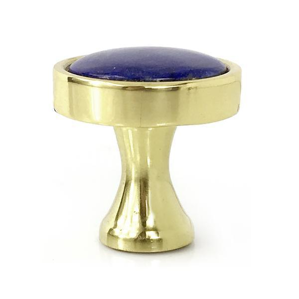 Solid Brass Lane Gemstone Pull-Home - Décor - Drawer Hardware-ADDISON WEEKS-Lapis-Peccadilly