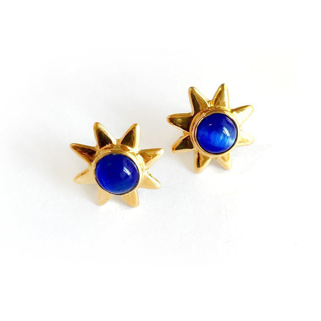 Starr 24k Gold Studs Genuine Gemstone Earrings-Women - Jewelry - Earrings-ADDISON WEEKS-Blue Aventurine-Peccadilly
