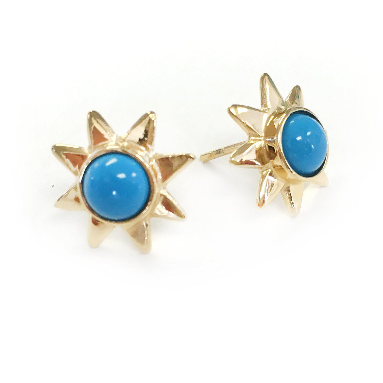 Starr 24k Gold Studs Genuine Gemstone Earrings-Women - Jewelry - Earrings-ADDISON WEEKS-Blue Turquoise-Peccadilly