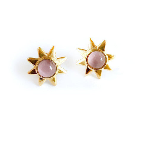 Starr 24k Gold Studs Genuine Gemstone Earrings