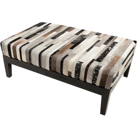 Trail 46 x 30 x 17 Bench in Natural Striped Hide
