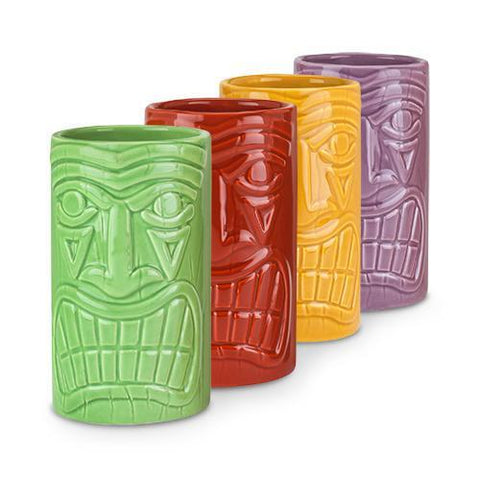 True Beachcomber Ceramic Tiki Mugs in Assorted Colors