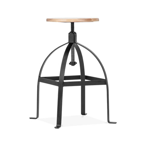 Turner Black Adjustable Wood Seat Barstool