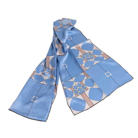 Vienna Art Nouveau Silk Scarf in Blue Pattern