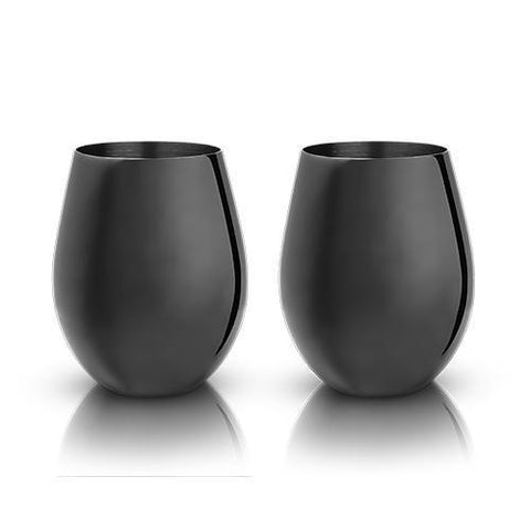 Warren Gunmetal Black Stemless Wine Glasses Set