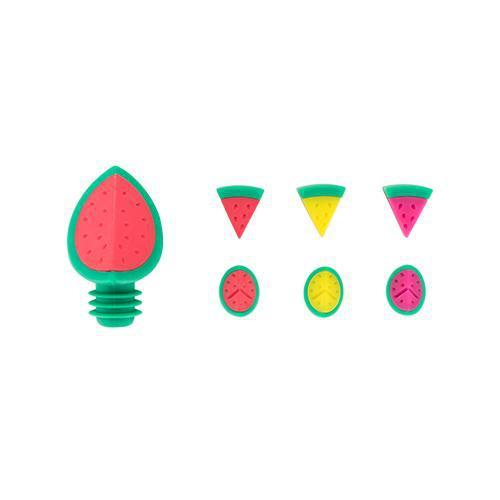 Watermelon Wine Stopper and Charm Set-Home - Entertaining - Drink Markers-BLUSH-Peccadilly