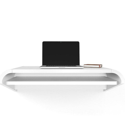 White Minimal Floating Wall Desk in 36