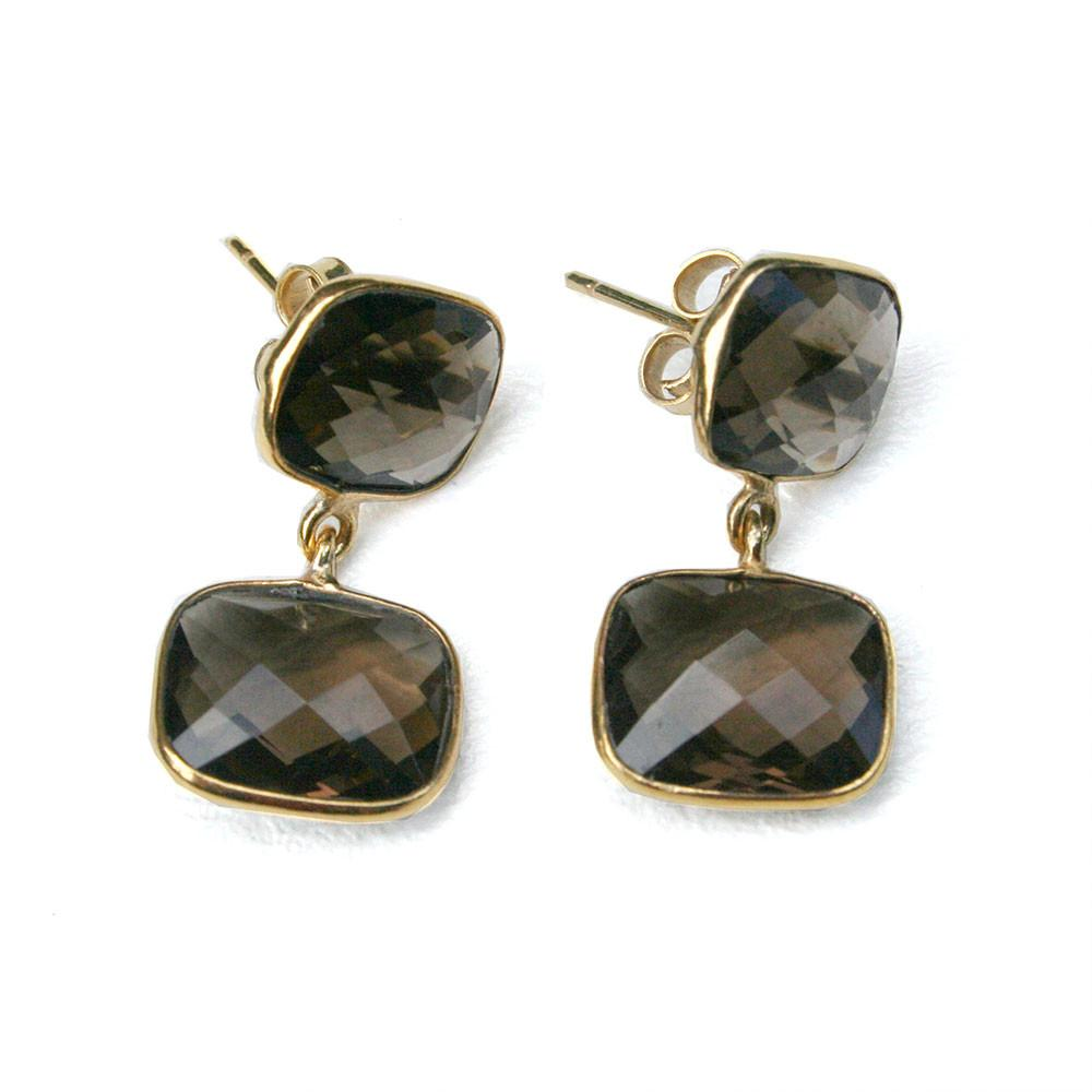 24k Gold Whitten Genuine Gemstone Post Earrings-Women - Jewelry - Earrings-ADDISON WEEKS-Smoky Quartz-Peccadilly