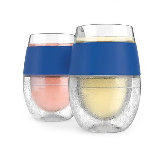 FREEZE Wine Chilling Cups Set of 2-Home - Entertaining - Wine Glasses-HOST-Blue-Peccadilly