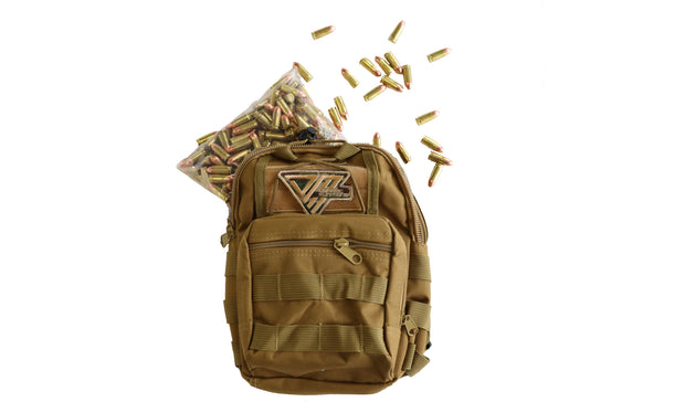 Range Bag Tan 250rds 115gr 9mm - Dynamic Munitions 308 Brass, shooting accessories, long range shooting, 223 rounds, bulk ammo, 223 shells, chrome moly, 308 once fired brass, shooting bags 223 rem, 5.56