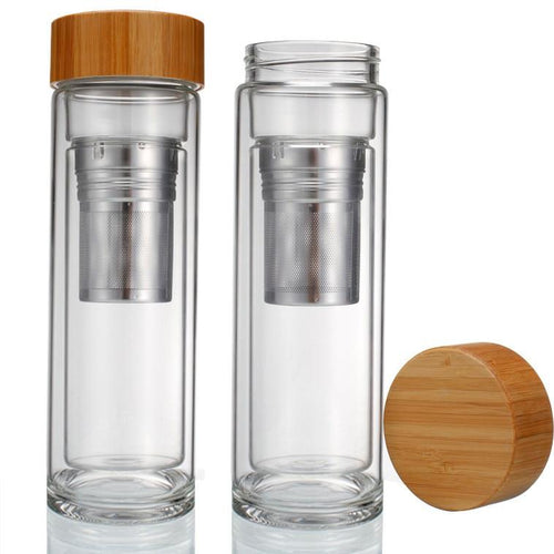 Bamboo top glass travel mug to steep tea