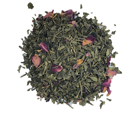 organic cherry rose Green tea, rose petals, cherry