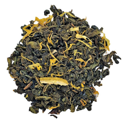 lemon green tea with Gunpowder green tea, lime pieces, calendula with sunflower petals, natural flavors
