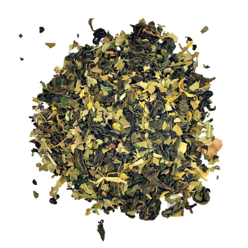 morning glory blend with Green tea, lemon mate, nettle and dandelion leaves, lemon pieces